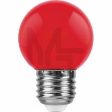 Лампа светодиодная LB-37 5LED(1W) 230V E27 красный 70*45mm шарик 25116