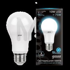Лампа Gauss LED A60 10W E27 920lm 4100K 1/10/50 102502210