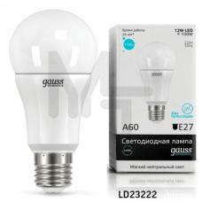Лампа Gauss LED Elementary A60 12W E27 1150lm 4100K 1/10/40 23222