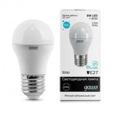 Лампа Gauss LED Elementary Шар 6W E27 450lm 4100K 1/10/100 53226