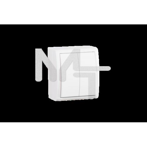 Выключатель двухклавишный, IP54, 10А 250В, винтовой зажим, S15 Aqua, белый 1594398-030