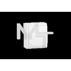 Выключатель одноклавишный проходный с подсветкой, IP54, 10А 250В, винтовой зажим, S15 Aqua, белый 1594204-030