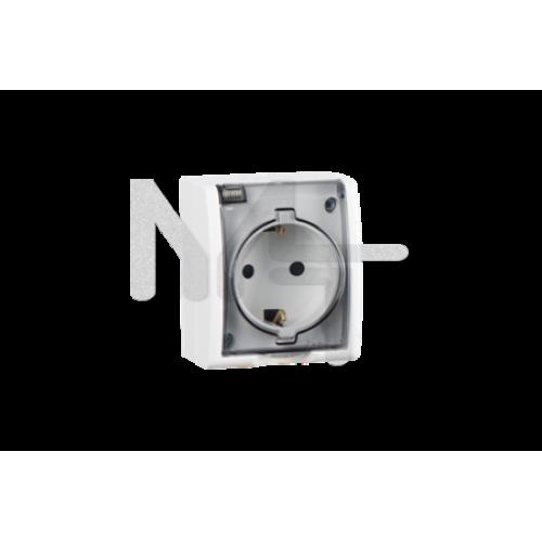 Розетка с заземлением Schuko, с крышкой полупрозрачной, IP54, 16А 250В, винтовой зажим, S15 Aqua, бе 1594445-030
