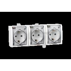 Розетка тройная с заземлением Schuko со шторками, с крышкой полупрозрачной, IP54, 16А 250В, винтовой 1594447-030