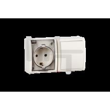 Блок, розетка с заземлением Schuko 16А 250В + выключатель одноклавишный 10А 250В, IP54, S15 Aqua, сл 1594511-031