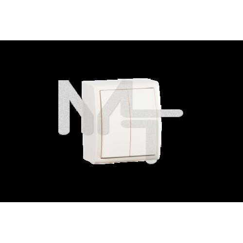Выключатель двухклавишный, IP54, 10А 250В, винтовой зажим, S15 Aqua, слоновая кость 1594398-031