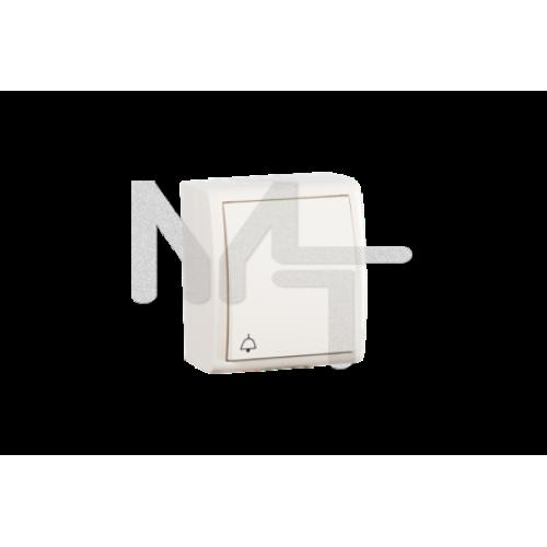 Выключатель одноклавишный кнопочный с символом «звонок», IP54, 10А 250В, винтовой зажим, S15 Aqua, с 1594150-031