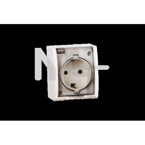 Розетка с заземлением Schuko, с крышкой полупрозрачной, IP54, 16А 250В, винтовой зажим, S15 Aqua, сл 1594445-031