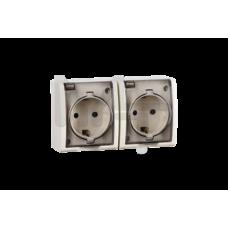 Розетка двойная с заземлением Schuko со шторками, с крышкой полупрозрачной, IP54, 16А 250В, винтовой 1594443-031