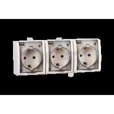 Розетка тройная с заземлением Schuko, с крышкой полупрозрачной, IP54, 16А 250В, винтовой зажим, S15 1594437-031
