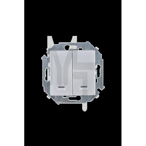 Выключатель двухклавишный с подсветкой, 16А 250В, винтовой зажим, алюминий 1591392-033