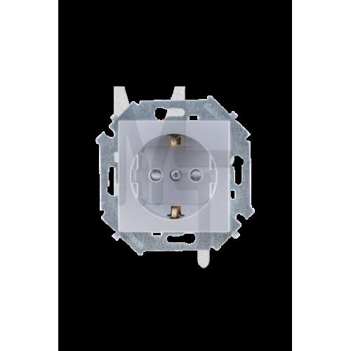 Розетка с заземлением Schuko, 16А 250В, винтовой зажим, алюминий 1591432-033
