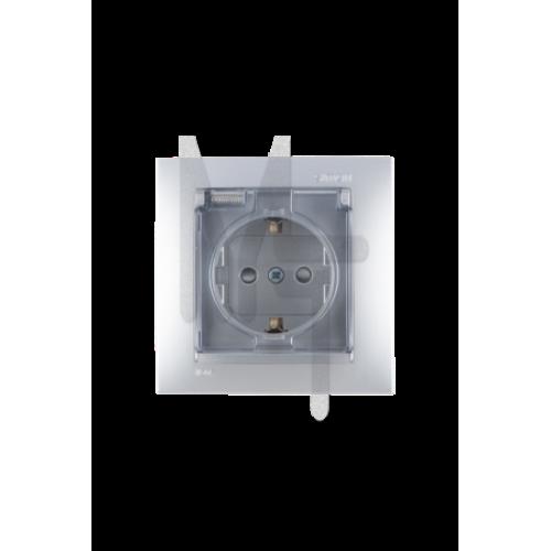 Розетка с заземлением Schuko со шторками, с крышкой, IP44, 16А 250В, винтовой зажим, алюминий 1590450-033