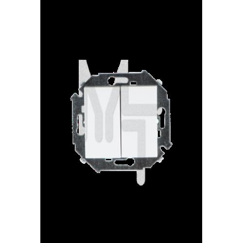 Выключатель двухклавишный проходной, 16А 250В, винтовой зажим, белый 1591397-030