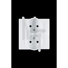 Розетка двойная без заземления, 16А 250В, винтовой зажим, белый 1590457-030