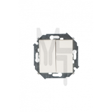 Выключатель двухклавишный, 16А 250В, винтовой зажим, слоновая кость 1591398-031