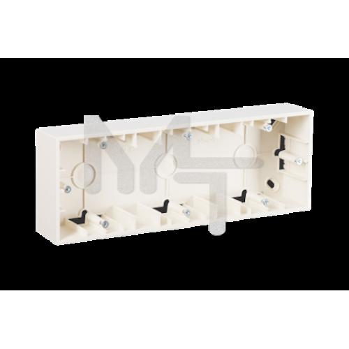 Монтажная коробка для накладного монтажа, 3 поста, слоновая кость 1590753-031