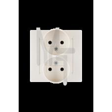 Розетка двойная без заземления, 16А 250В, винтовой зажим, слоновая кость 1590457-031