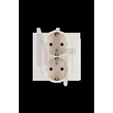 Розетка двойная с заземлением Schuko, 16А 250В, винтовой зажим, слоновая кость 1590459-031