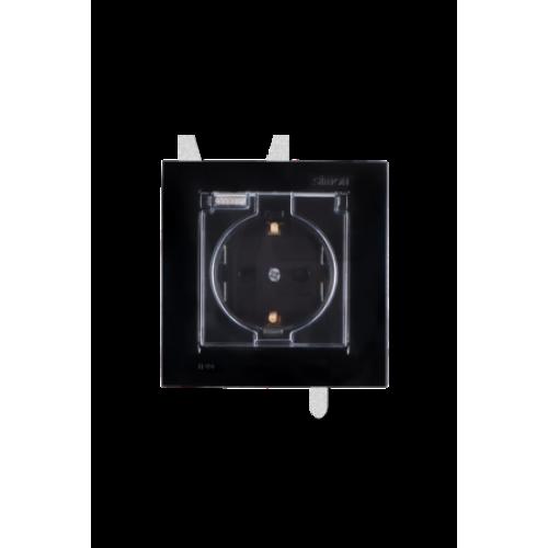 Розетка 2Р+Е Schuko, со шторками, с крышкой, IP44, 16А, 250В, винтовой зажим, черный 1590450-032