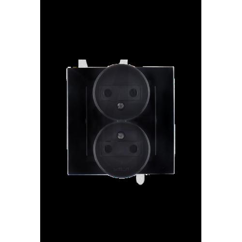 Розетка двойная 2Р, 16А, 250В, винтовой зажим, черный 1590457-032