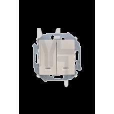 Выключатель двухклавишный с подсветкой, 16А 250В, винтовой зажим, шампань 1591392-034