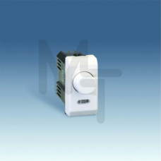 Светорегулятор проходной поворотно-нажимной, 40-500Вт, (лампы накаливания+галоген), узкий модуль, S2 27313-34