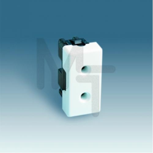 Розетка двухполюсная без заземления, с защитными шторками, узкий модуль, S27, белый 27431-64