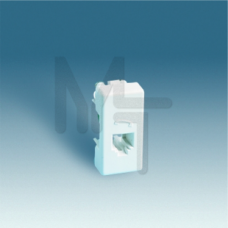 Розетка телефонная RJ-11, 4 контакта, узкий модуль, S27, белый 27480-34