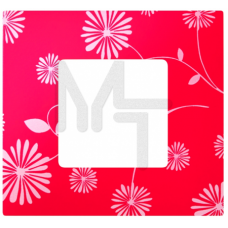 Декоративная накладка на рамку-базу, 1 пост, S27Pl, красное & белое (10130080/060214/0001155/2, ИСПА 2700617-803