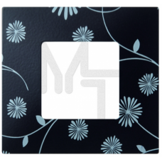 Декоративная накладка на рамку-базу, 1 пост, S27Pl, чёрное & белое (10130080/060214/0001155/2, ИСПАН 2700617-802