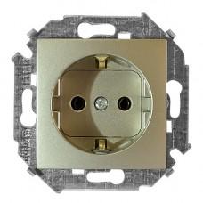 Розетка с заземление 2P+E, с защитными шторками, 16А, 250В, бронза 34443-036