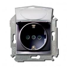 Розетка с заземлением 2Р+Е, с защитными шторками, с крышкой, 16А, 250В, графит 34445-038