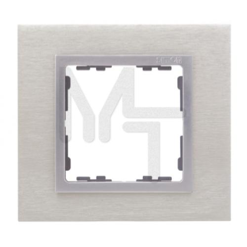 Рамка декоративная, 1 пост, S82 Nature, Металл, матовая сталь-алюминий 82917-34