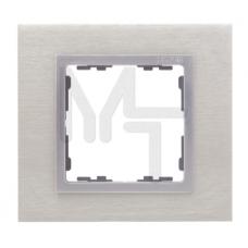 Рамка декоративная, 3 поста, S82 Nature, Металл, матовая сталь-алюминий 82937-34