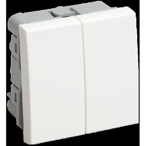 ВК4-22-00-П Выключатель проходной (переключатель) двухклавишный (на 2 модуля) ПРАЙМЕР белый IEK CKK-40D-PD2-K01