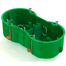 Коробка КМ40023 установочная 2 места d141х70x45 для полых стен (с саморезами и мет. лапка) UKG20-141-070-045-M