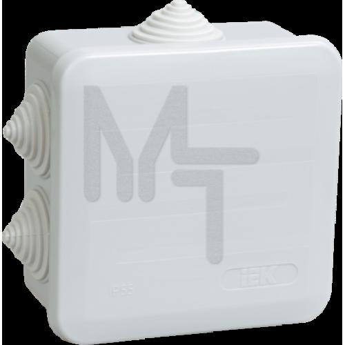 Коробка КМ41255 распаячная для о/п 100х100х50 мм IP44 (RAL7035, 6 гермовводов, защелкивающаяся крышк UKOZ11-100-100-050-K41-44