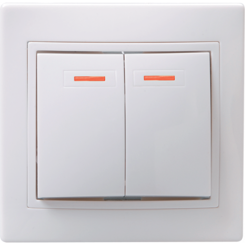 ВС10-2-1-КБ Выключатель 2кл с инд. 10А КВАРТА (белый) EVK21-K01-10-DM