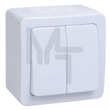 ВС20-2-0-ГПБ выкл 2кл о/у IP54 (цвет клавиши:белый) ГЕРМЕС PLUS EVMP20-K01-10-54-EC