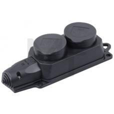 РБ32-1-0м Розетка (колодка) двухместная с защитными крышками ОМЕГА IP44 PKR62-016-2-K02
