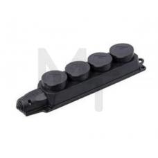 РБ34-1-0м Розетка (колодка) четырехместная с защитными крышками ОМЕГА IP44 PKR64-016-2-K02