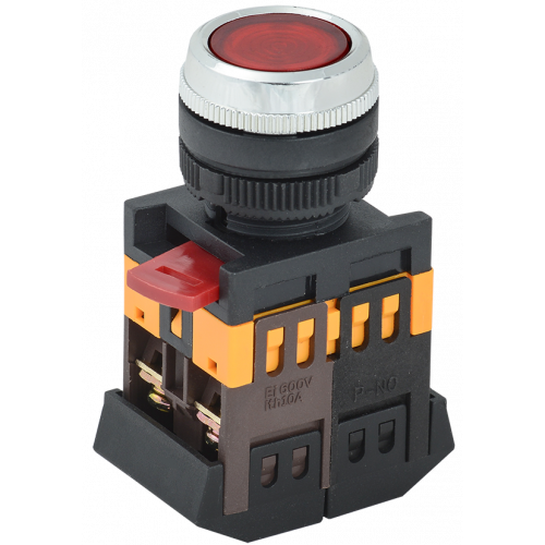 Кнопка ABLFS-22 красный d22мм неон/240В 1з+1р ИЭК BBT30-ABLFS-K04