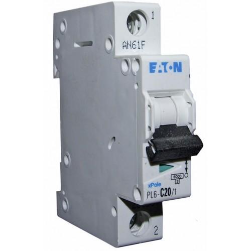 PL6-C20/1 Автоматический выключатель 20А, кривая отключения С, 1 полюс, откл. способность 6 кА 286534