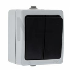 Венеция Выключатель 2-клавишный 10А IP54 серый EKF EVV10-023-30-54