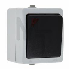 Венеция Выключатель 1 -клавишный с индикатором 10А IP54 серый EKF EVV10-121-30-54