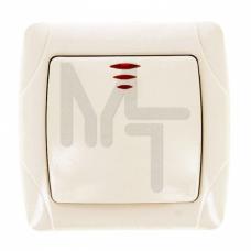 Мадрид Выключатель 1-клавишный с индикатором 10А бежевый EKF EIV10-121-20