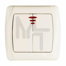 Мадрид Выключатель 2-клавишный с индикатором 10А бежевый EKF EIV10-123-20