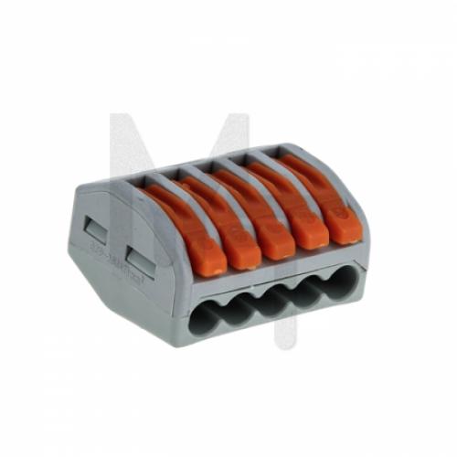 Строительно-монтажная клемма СМК 222-415 с рычагом 5 отверстий 0,08-2,5мм2 (2шт.) EKF PROxima plc-smk-415r
