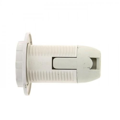Патрон Е14 пластиковый с кольцом термостойкий пластик бел. EKF PROxima LHP-E14-r